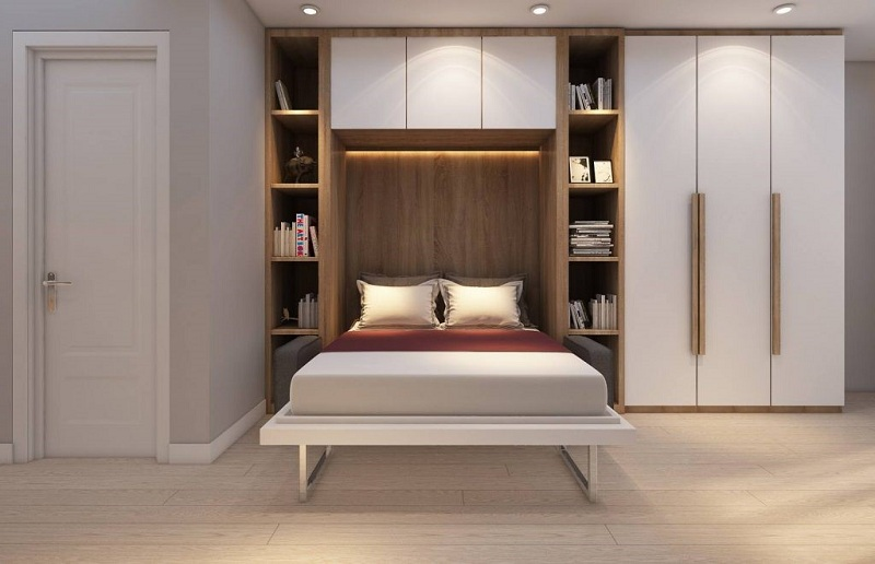 Mẫu giường liền tủ có hai kệ trang trí cân xứng hai bên cùng tủ quần áo 3 cánh tông trắng cùng nâu vân gỗ đồng bộ, ấn tượng.