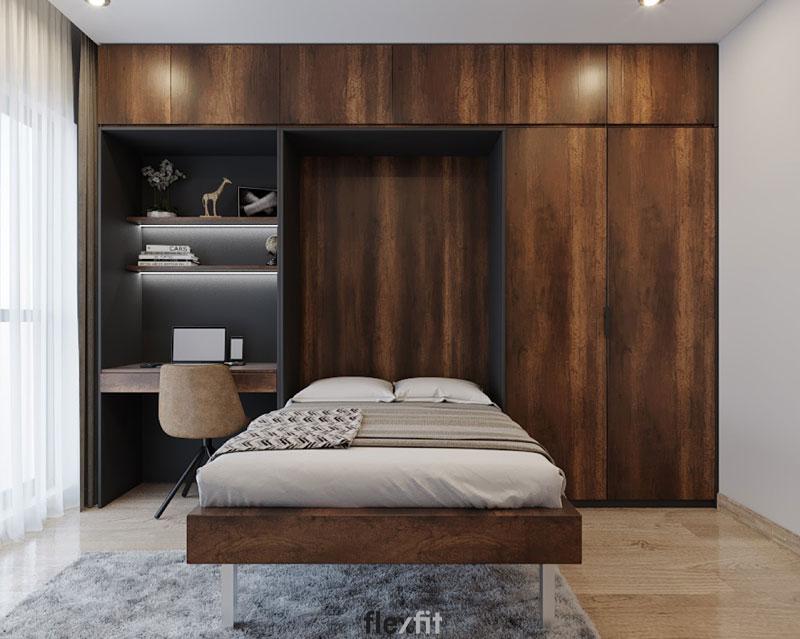 Mẫu giường liền tủ và bàn làm việc màu vân gỗ trầm ấn tượng, tiện nghi. Cùng với đó là thiết kế kịch trần giúp bạn có thêm không gian lưu trữ.