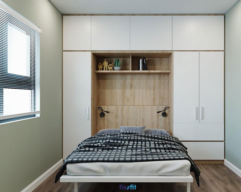 Mẫu giường liền tủ gỗ MFC phủ Melamine màu trắng kết hợp vân gỗ sáng giúp không gian phòng nhỏ như được cơi nới rộng ra. Đặc biệt, giường được thiết kế có thể gấp gọn dễ dàng, giải phóng không gian tối đa.
