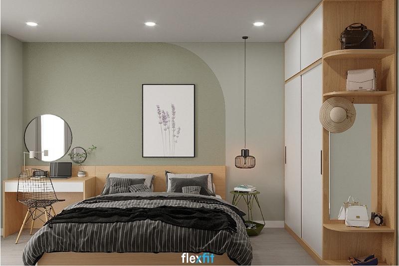 Mẫu giường tích hợp bàn trang điểm & làm việc đa năng, tiện ích giúp tiết kiệm diện tích hiệu quả. Tông màu vân gỗ sáng phối hợp với bộ chăn ga giường tối màu, họa tiết kẻ mang đến không gian ấm cúng.