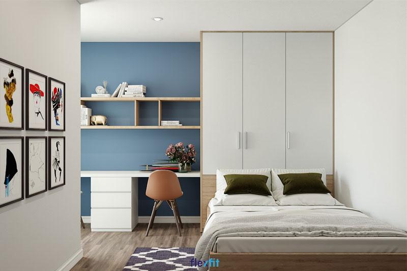 Mẫu giường đơn liền tủ quần áo, bàn làm việc đôi, kèm kệ trang trí màu vân gỗ sáng đồng bộ. Bộ nội thất tiện nghi dành cho phòng ngủ này sử dụng chất liệu gỗ MFC phủ Melamine chống trầy tốt, dễ vệ sinh.