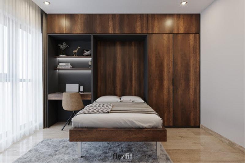 Đây là mẫu giường tủ kết hợp bàn làm việc trong phòng ngủ ấn tượng đang rất được người dùng yêu thích. Với hệ thống nội thất này, bạn có không gian làm việc ngay trong phòng ngủ vô cùng tiện lợi. Đặc biệt, gam màu nâu sẫm của gỗ làm dịu bớt sự sắc lạnh của màu sơn tường và rèm cửa trắng tạo không gian ấm cúng hơn.