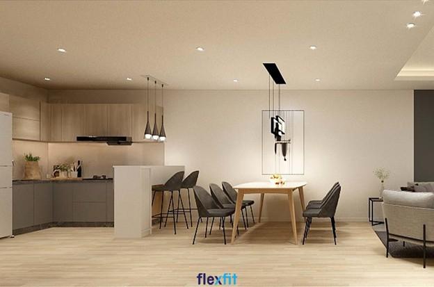 Mẫu tủ bếp chữ L này được làm từ chất liệu lõi MDF chống ẩm phủ Laminate làm tăng tính thẩm mỹ cho không gian phòng bếp. Tủ có màu vân gỗ sang trọng cùng hệ thống đèn chiếu sáng tạo không gian bếp ấm cúng.