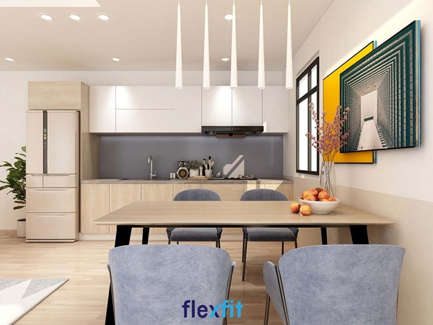 Tủ bếp treo tường chữ I gỗ MDF phủ Laminate màu trắng mang đến vẻ đẹp thanh lịch cho căn bếp và khả năng chống trầy xước tốt.