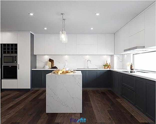 Mẫu tủ bếp treo tường chữ L này có khả năng lấy sáng, tạo cảm giác thông thoáng tuyệt vời cho không gian bếp. Tông màu trắng sáng của tủ bếp hòa quyện vào với không gian nội thất chung mang đến sự hiện đại, sang trọng cho căn bếp.