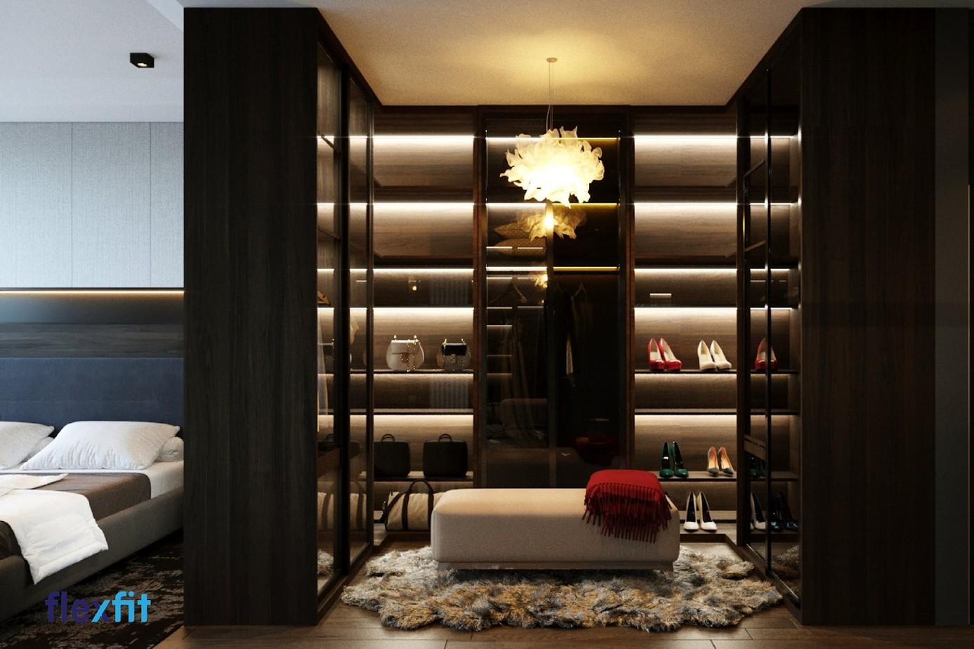 Tủ quần áo chữ U giúp không gian phòng thay đồ trở nên sang trọng và thời thượng