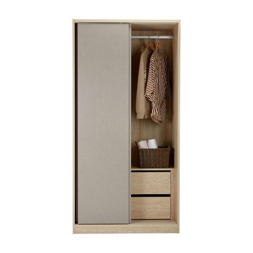 Tủ quần áo 1m sử dụng dạng cửa lùa tối ưu diện tích không gian. Bên trong tủ được thiết kế thông minh với 2 ngăn kéo để đồ, giúp bạn lưu trữ đồ dùng vật dụng theo phân loại dễ dàng.