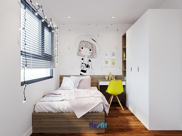 Bàn chữ U 1m2 thiết kế liền tủ quần áo, kệ trang trí và giường ngủ này là sản phẩm nội thất lý tưởng cho phòng ngủ nhỏ.