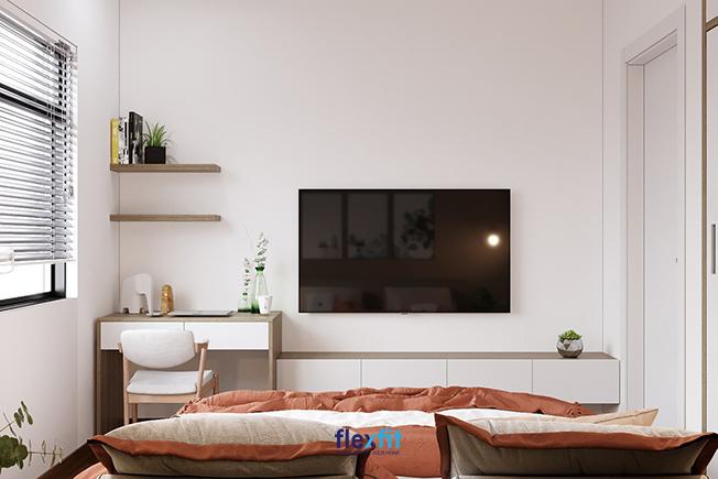 Bàn làm việc chữ U 1m2 phối màu trắng kết hợp vân gỗ đồng nhất với không gian phòng sơn tường trắng. Bàn còn tích hợp hệ tủ đựng đồ hữu ích và có thể tận dụng khoảng trống bên trên để vật trang trí theo cách mà bạn thích.