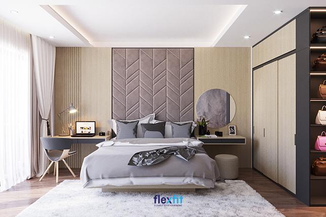 Bàn làm việc chữ U 1m4 này đồng bộ với tủ quần áo và bàn trang điểm từ chất liệu đến màu sắc. Gam màu vân gỗ - ghi hài hòa với phong cách nội thất và màu sắc của tổng thể căn phòng mang lại sự hài hòa, dễ chịu.