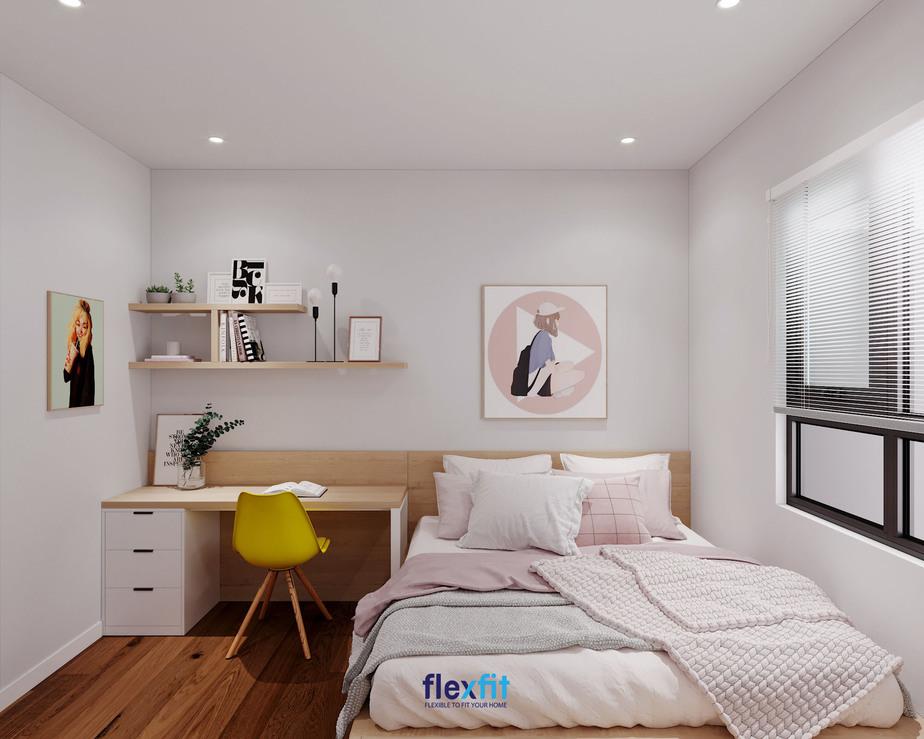 Bàn làm việc chữ U 1m6 có thiết kế ngăn kéo cùng giá sách cho bạn để sách, đồ dùng, vật dụng tiện lợi. Sản phẩm được phối màu trắng kết hợp cùng vân gỗ sáng màu thống nhất với màu của sơn tường, giường ngủ. Mẫu bàn này phù hợp cho phòng của các bạn nữ yêu thích phong cách nhẹ nhàng, nữ tính.