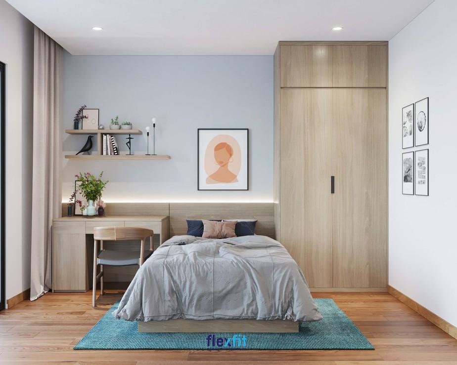 Mẫu bàn làm việc thiết kế chữ U kích thước 1m6 sở hữu tủ đựng mở ngang và dọc cùng kệ trang trí ấn tượng. Bàn làm việc này cùng với giường ngủ và tủ quần áo tạo thành hệ giường - tủ - bàn liền mạch, thống nhất, cùng tông màu vân gỗ thân thiện.