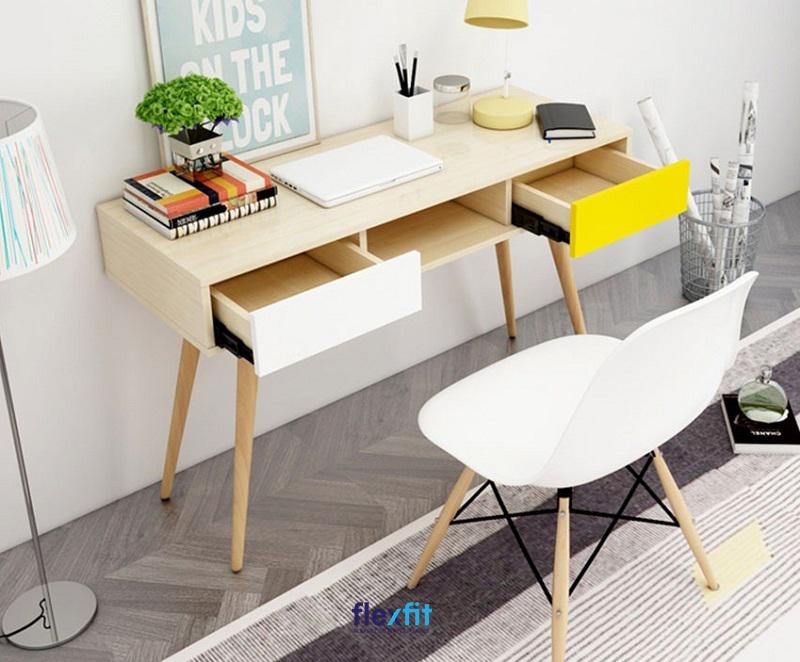 Mẫu bàn làm việc đẹp, thiết kế rỗng tạo thành những những kéo tủ ngang tiện dụng, hiện đại.