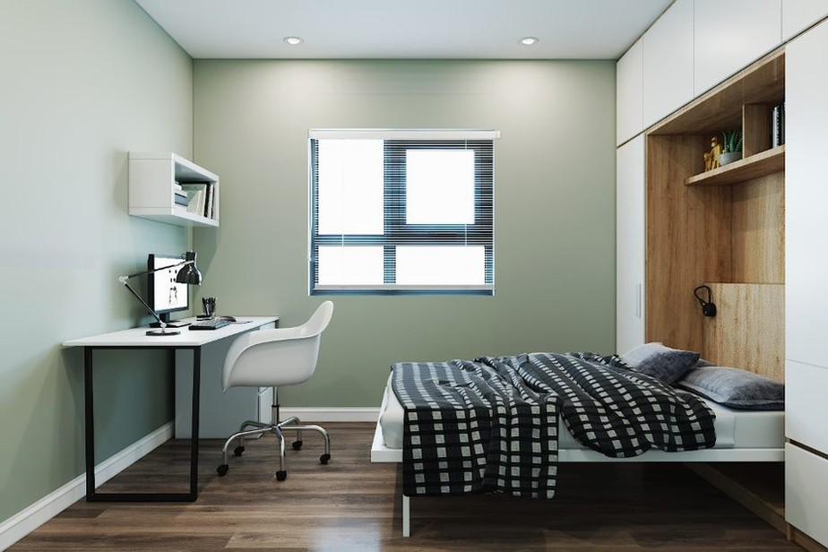 Nếu như bạn là yêu thích phong cách hiện đại thì mẫu bàn làm việc trong phòng ngủ này sẽ đáp ứng được điều đó. Bàn có thiết kế chân inox đen, mặt bàn màu trắng nổi bật. Ngoài ra, bàn còn kết hợp với kệ sách/ trang trí nhỏ cùng tông màu giúp tăng không gian lưu trữ.