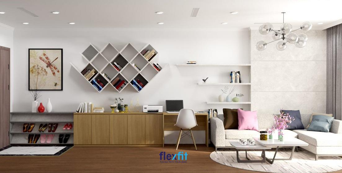 Mẫu bàn làm việc này có kích thước nhỏ 60cm x 100cm, được làm từ MFC phủ Melamine. Bàn được thiết kế tích hợp với kệ trang trí cùng tủ để đồ, có màu vân gỗ giúp tạo nên một bộ trang trí hài hòa và hiện đại cho căn phòng.