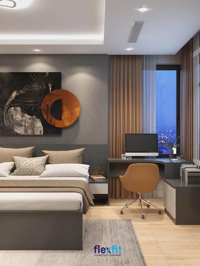 Mẫu bàn làm việc có màu ghi đậm, được làm từ MFC phủ Melamine, tích hợp với tủ kệ trang trí hoặc ngăn kéo. Bàn có kích thước 60 cm x 90 cm x 75 cm mang lại sự nhỏ gọn, tiện lợi cho căn phòng.