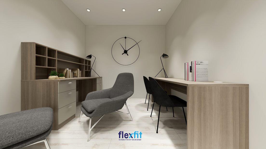 Bàn làm việc (90cm x 120cm x 140cm) tích hợp tủ kệ trang trí, ngăn kéo đựng đồ tiện ích phù hợp với những không gian làm việc cá nhân.