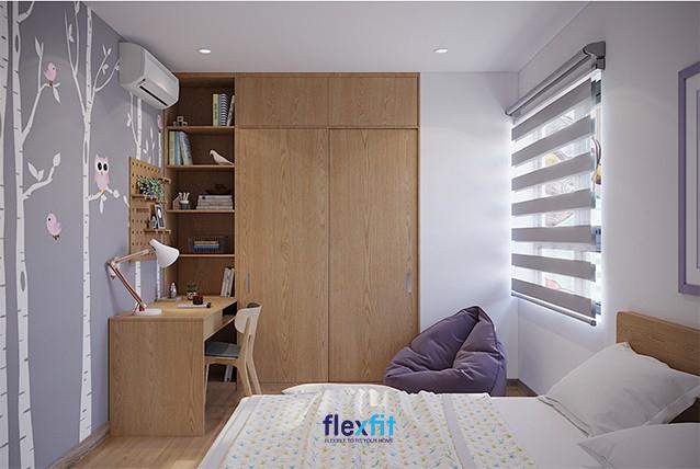 Với gam màu vân gỗ sáng, bàn làm việc được thiết kế thống nhất bố cục, đồng màu với hệ tủ quần áo để đồ. Chất liệu làm từ MFC phủ Melamine, có kích thước 90cm x 120cm rất hợp với tone tường màu trắng.