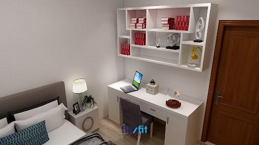 Một mẫu bàn làm việc tối giản màu trắng, được thiết kế với kích thước 60cm x 140cm đem lại không gian thoải mái, hiện đại cho căn phòng. Bàn có bố cục gọn nhẹ với hai tủ nhỏ hai bên và ngăn kéo bàn ở giữa. Được đặt kết hợp với kệ trang trí, giúp có nhiều không gian để đồ mà không tốn diện tích.
