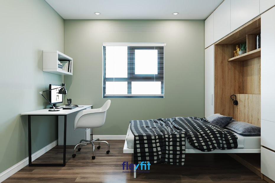 Mẫu bàn làm việc màu trắng, có chân inox đen nổi bật. Bàn có tích hợp ngăn tủ lưu trữ và ô tủ treo tường nhỏ để sách thuận tiện sử dụng.