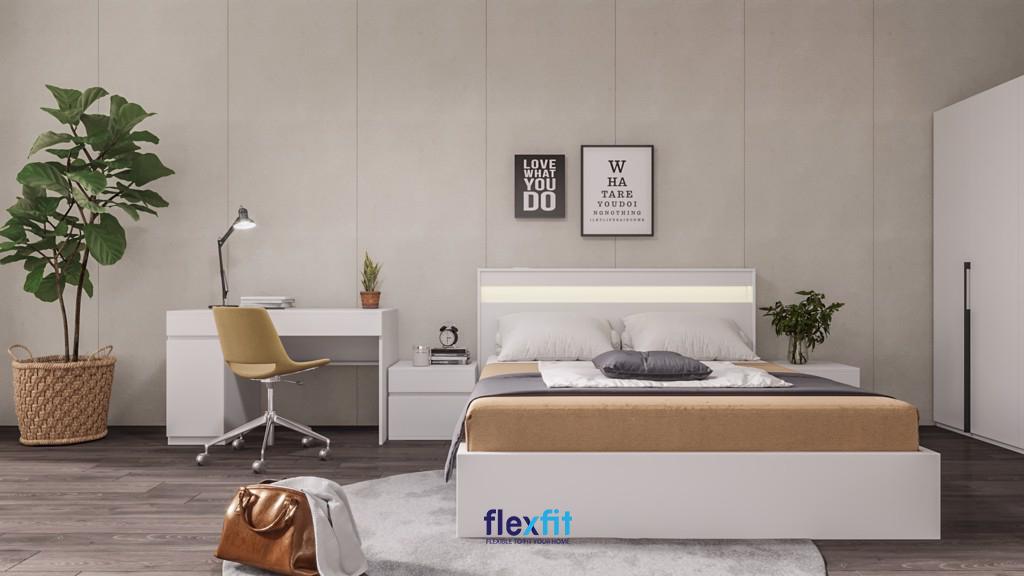 Giường Lightbox chất liệu gỗ MFC nhập khẩu phủ Melamine chống xước hiệu quả, bền đẹp trên 10 năm. Giường có thiết kế các ô tủ làm giá sách ấn tượng, tiện dụng.