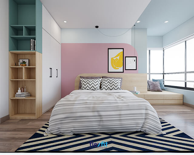 Mẫu giường ngủ gỗ công nghiệp mới mẻ, đa dụng nhờ thiết kế ghế ngồi ở không gian đầu giường. Theo đó, bạn có thể thư giãn, ngồi đọc sách cùng nhâm nhi cốc trà hay ly cà phê thơm ngon, từ từ tận hưởng cuộc sống tươi đẹp.