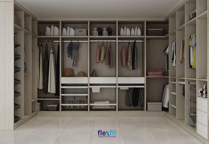 Tủ quần áo chữ U không cánh thiết kế đẹp, thông minh, lưu trữ thoải mái dành cho phòng thay đồ riêng.