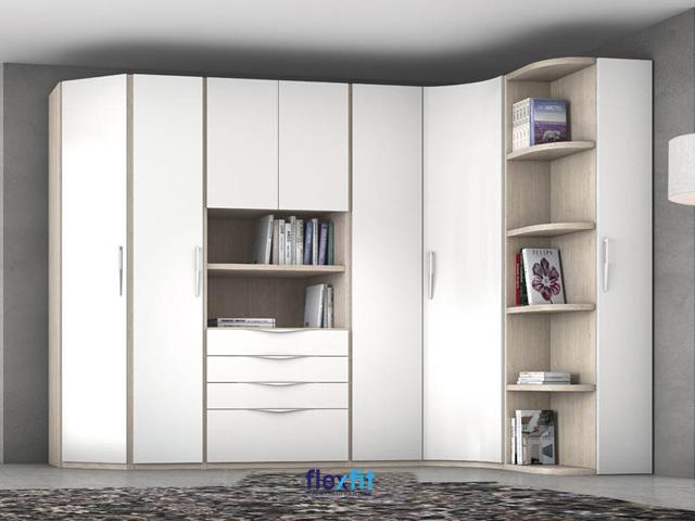 Mẫu tủ quần áo tận dụng góc phòng tối đa thiết kế phá cách với các ô tủ để sách/trang trí không cánh.