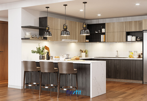 Tủ bếp lắp ghép được nhiều người quan tâm bởi thiết kế linh hoạt, tiện nghi phù hợp với nội thất hiện đại.