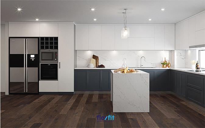Hệ thống đèn chiếu sáng với những bóng đèn trần nhỏ vừa mang lại độ sáng vừa phải, vừa đảm bảo tính thẩm mỹ cho căn phòng.