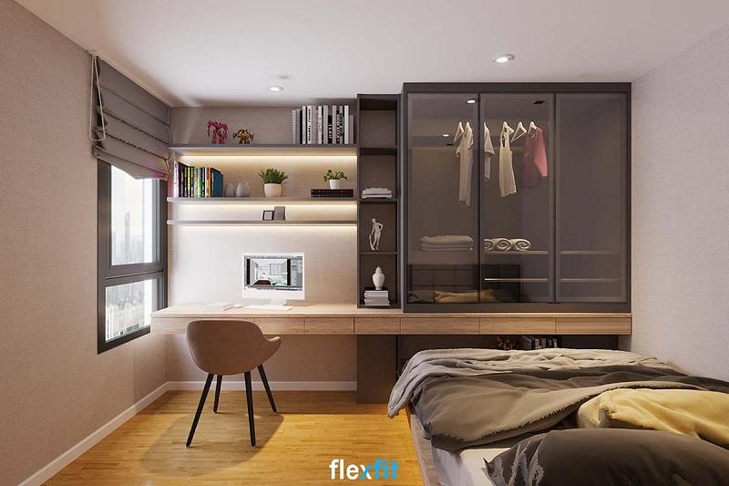 Tủ quần áo mang đậm phong cách châu Âu, thiết kế cánh kính sang trọng lại được kết hợp với bàn làm việc, kệ trang trí tạo sự tiện nghi tối đa.
