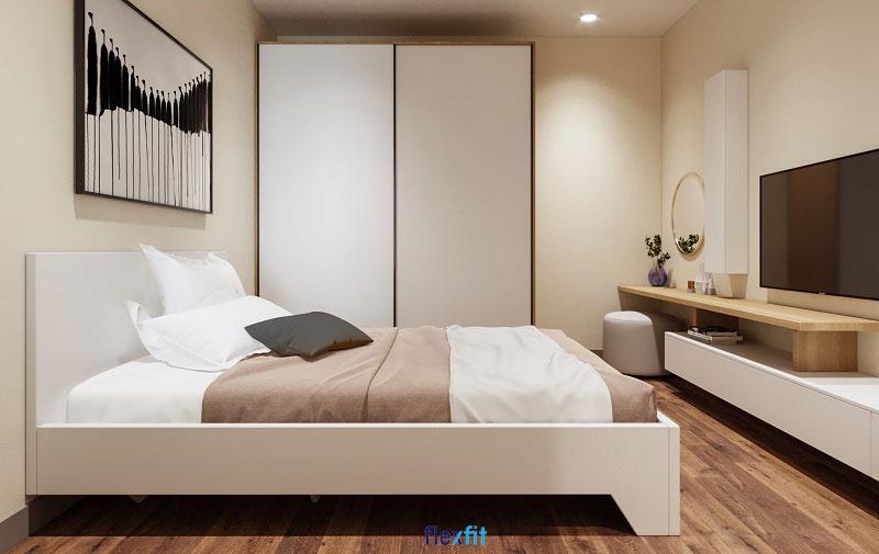 Mẫu tủ quần áo cửa lùa tiết kiệm diện tích với gam màu trắng mang thiên hướng hiện đại