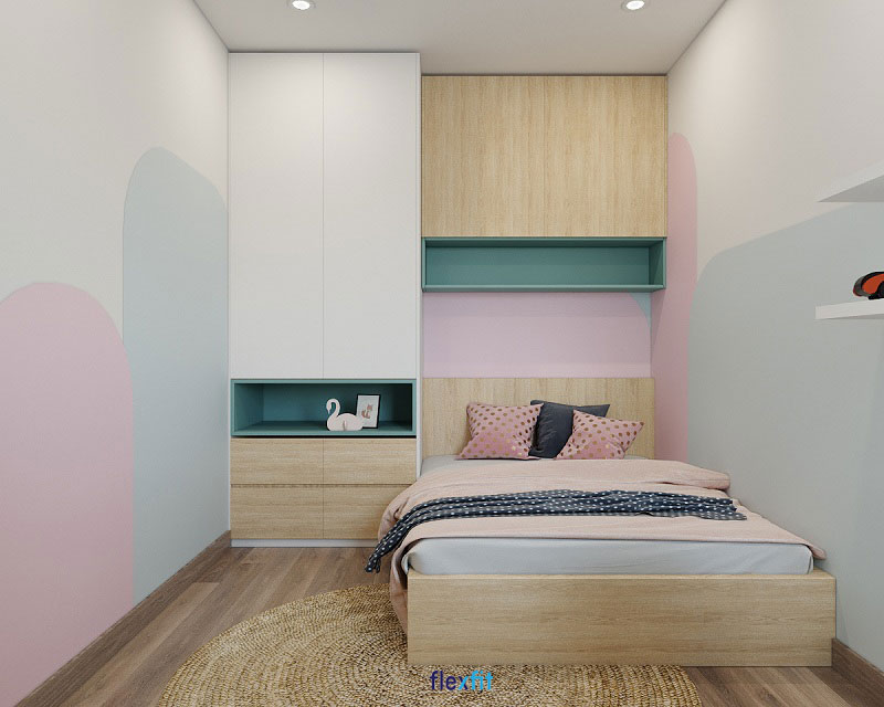 Tủ quần áo kết hợp giường, kệ trang trí tiện dụng