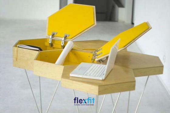 Bàn làm việc tổ ong sáng tạo, độc đáo với thiết kế âm bàn giúp bạn có không gian lưu trữ đồ tiện ích và bảo quản đồ tốt hơn.