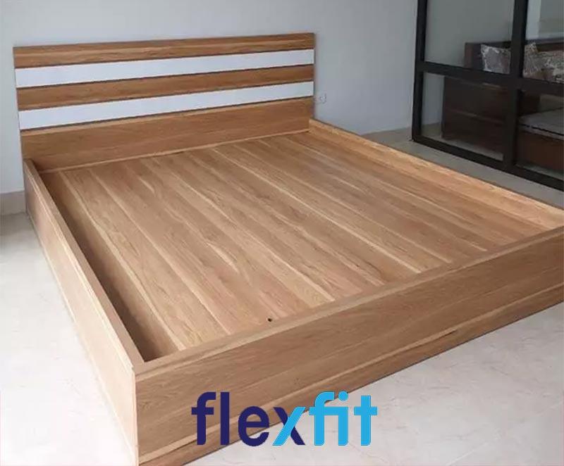 Mẫu giường gỗ công nghiệp MDF vân gỗ đẹp