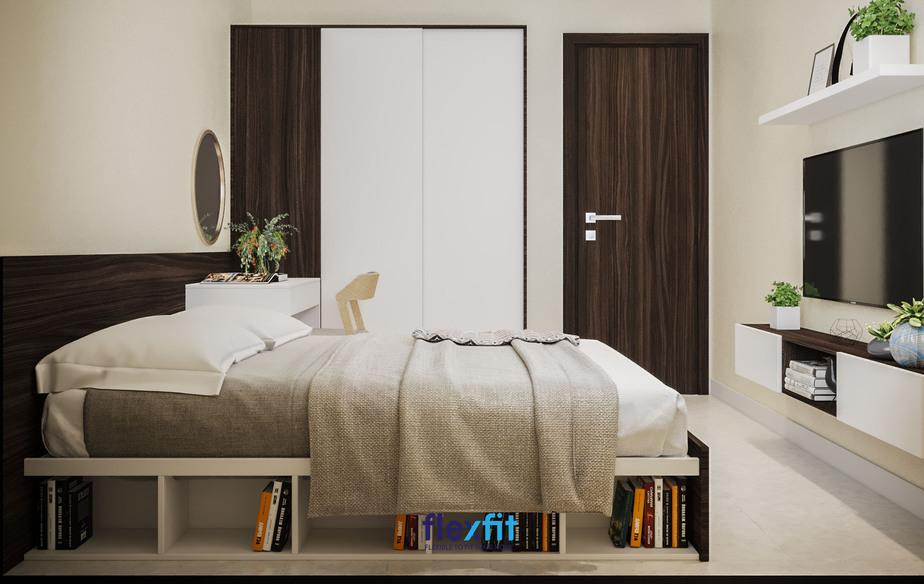 Giường ngủ 2m đa năng với thiết kế một bên là các ô tủ không cánh để trang trí hoặc làm giá sách và một bên là ngăn kéo chứa đồ.