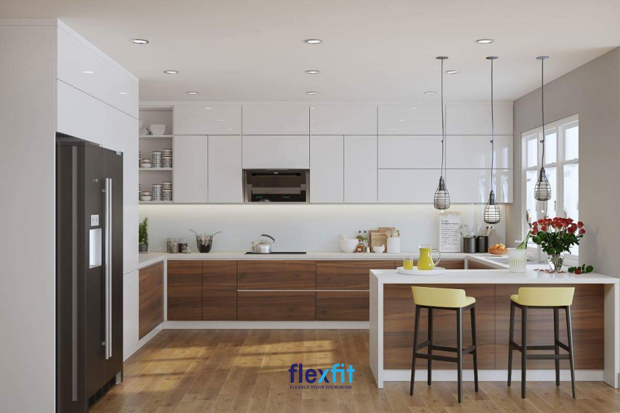 Với nhà chung cư mẫu thiết kế quầy bar phòng bếp này rất phổ biến bởi vẻ đẹp hiện đại, đẹp mà không cầu kỳ của nó