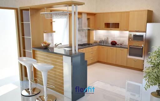 Mẫu quầy bar ngăn bếp và phòng khách bằng chất liệu đá kết hợp gỗ nhỏ xinh giúp tiết kiệm diện tích
