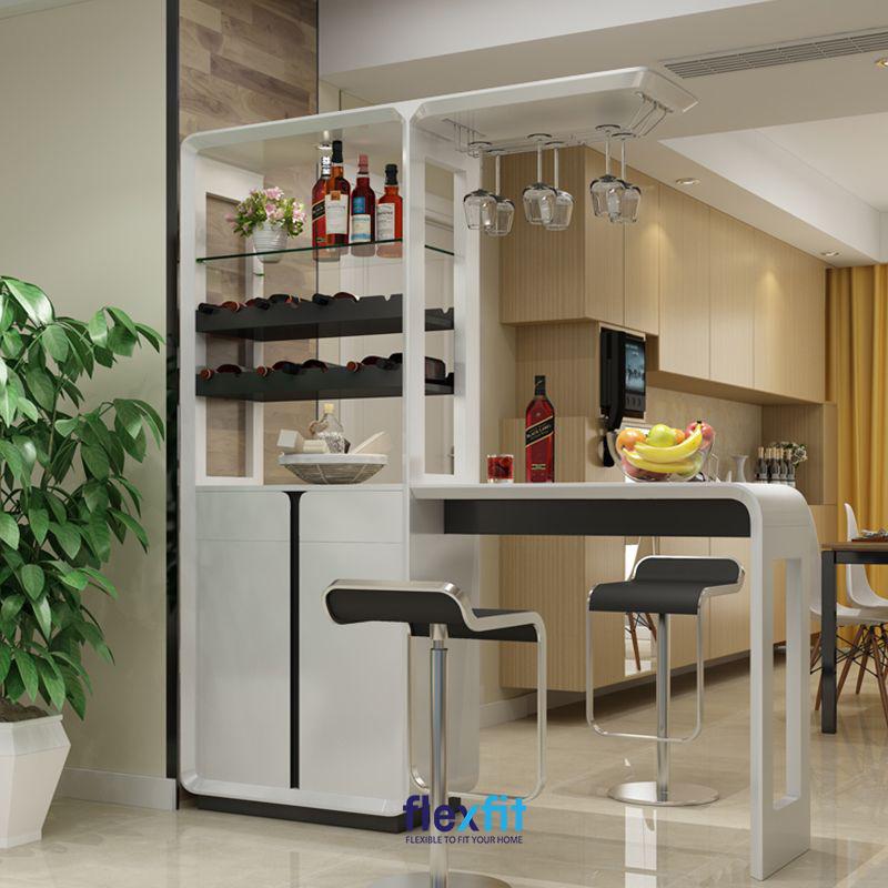 Quầy bar kết hợp tủ rượu tạo nên sự sang trọng và cũng rất tiện dụng