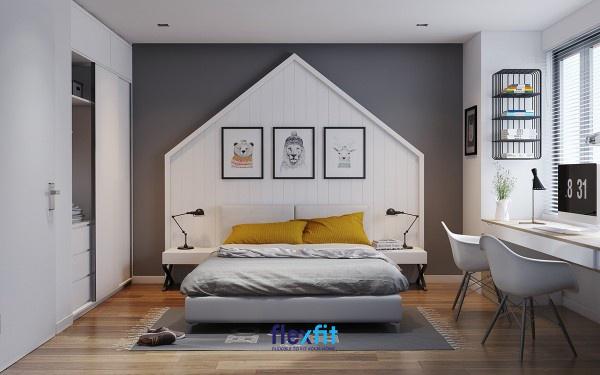 Phòng ngủ lý tưởng cho người mệnh Kim với gam màu trắng làm chủ đạo và sử dụng kệ sách bằng sắt hợp mệnh