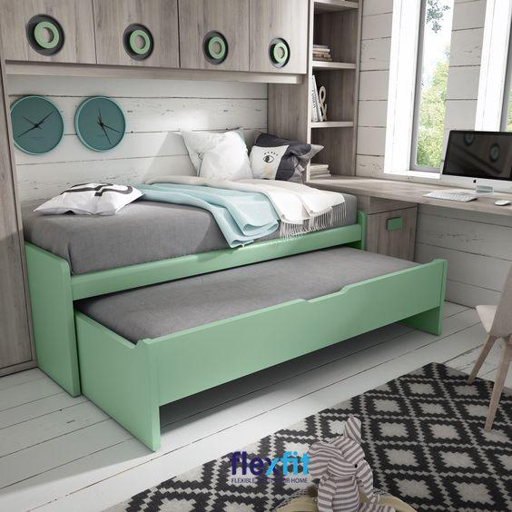 Sắc xanh cá tính, nổi bật mang lại vẻ đẹp độc đáo, riêng biệt cho căn phòng.