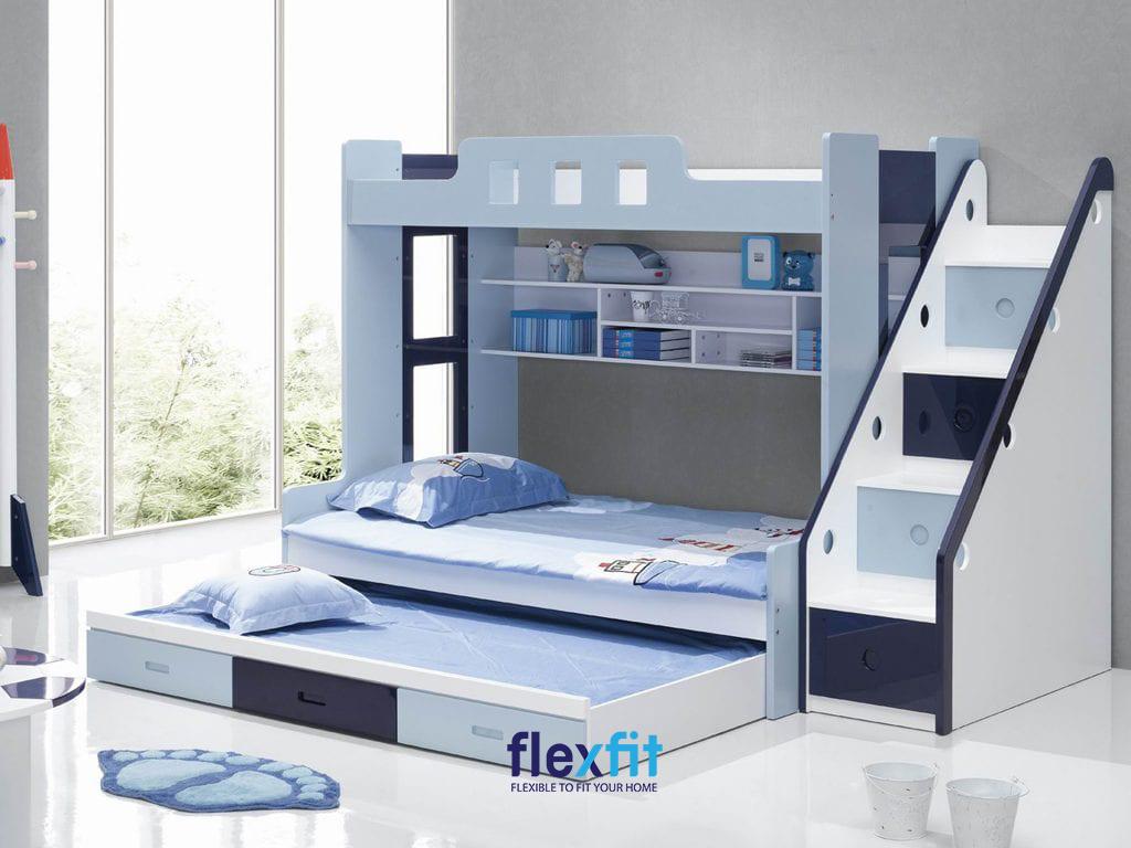 Giường ngủ đa năng với tầng thấp và tầng cao gia tăng công năng sử dụng, phù hợp với phòng các bé