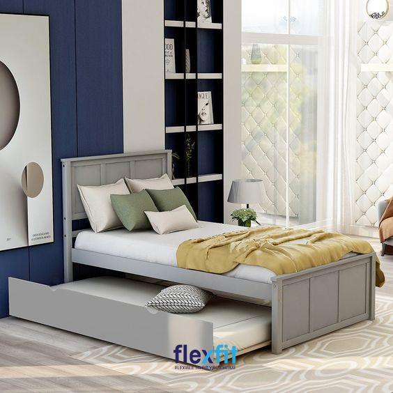 Giường ngủ sở hữu màu xám bắt mắt, các họa tiết trang trí được tối giản mang lại vẻ đẹp thanh lịch, sang trọng cho căn phòng.