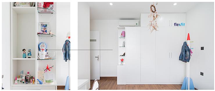 Mẫu tủ quần áo đa năng cho bé tích hợp kệ trang trí, để đồ lưu niệm, đồ chơi tiện lợi