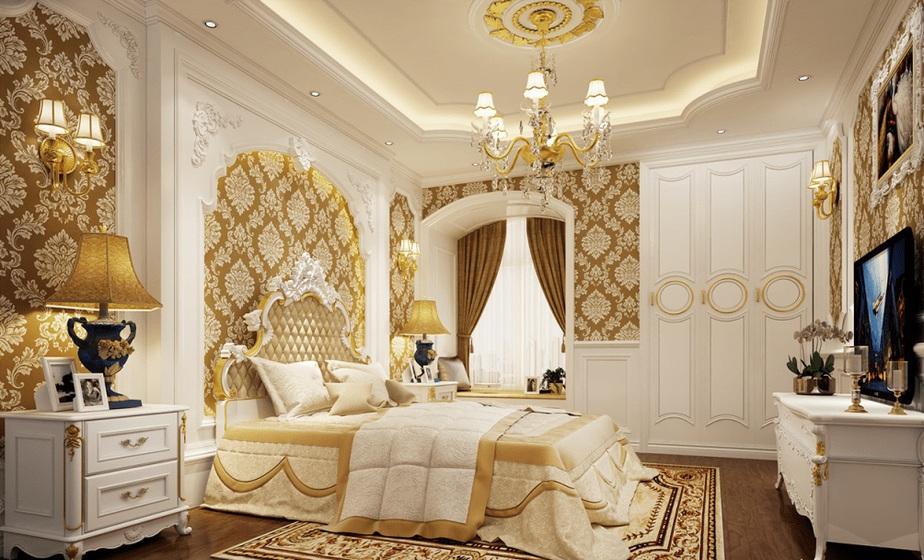 Phòng ngủ phong cách cổ điển, cầu kỳ trong từng chi tiết, mang hơi thở hoàng gia, phù hợp với những nhà biệt thự cao sang