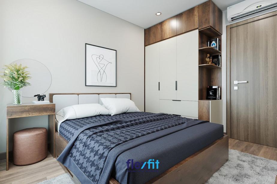 Căn phòng view hướng ra ngoài trời là điểm cộng tuyệt vời tạo cho căn phòng của bạn có cảm giác thoáng đãng và rộng rãi hơn. Sự hòa hợp giữa các màu chủ đạo nâu - sữa - ghi giúp cho căn phòng mang đậm phong cách hiện đại.