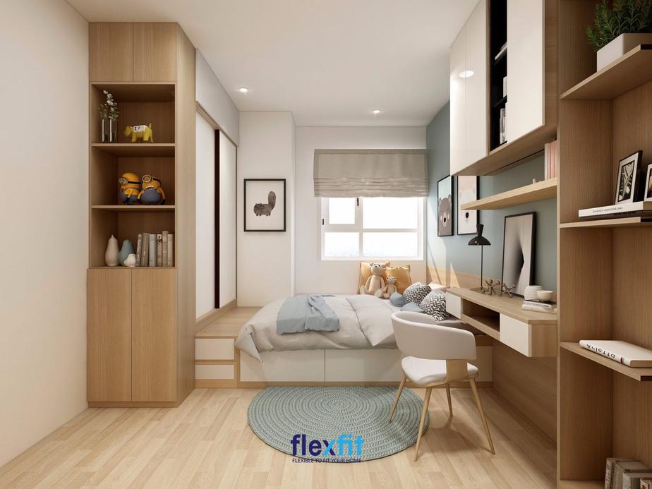 Nội thất căn phòng được sắp xếp một cách khoa học giúp đảm bảo không gian sinh hoạt, học tập và vui chơi của các bé.