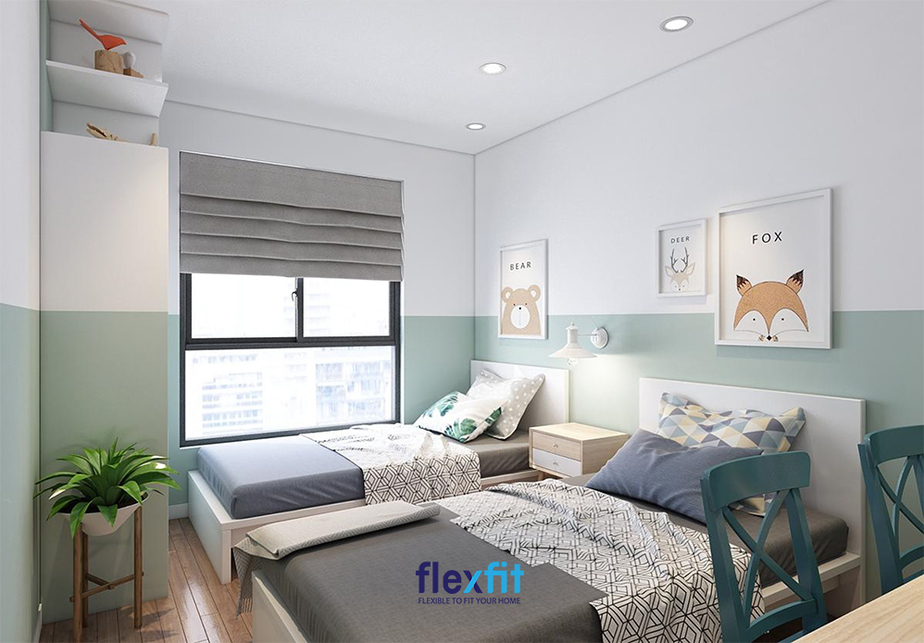 Căn phòng sử dụng màu xanh - trắng mang lại cảm giác hài hòa và vô cùng gắn kết, dễ chịu.