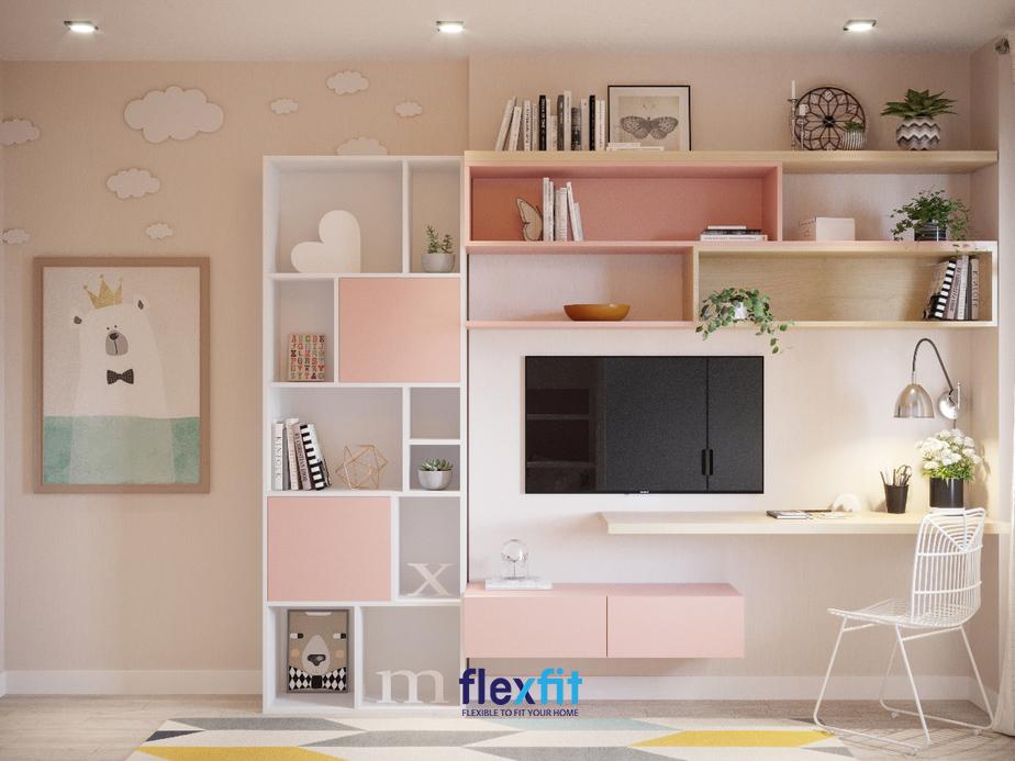 Sử dụng kết hợp màu trắng - hồng giúp bạn mang lại một không gian nữ tính đầy đáng yêu cho các bé gái.