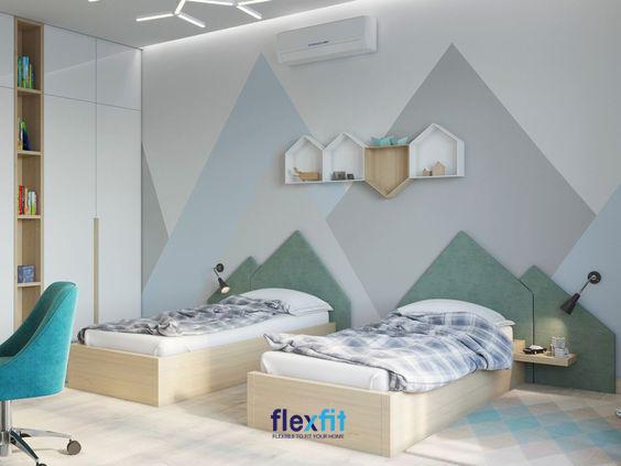 Căn phòng sử dụng màu sắc nhã nhặn, tạo cảm giác mát mẻ và sảng khoái.